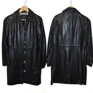 VTG RARE COACH   Leather Snap Trench Coat Logo